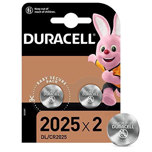 Duracell DL2025/CR2025 Batteria Bottone al Litio 3V, Confezione da 2, con Tecnologia Baby Secure per l'Uso su Chiavi con Sensore Magnetico, Bilance, Elementi Indossabili