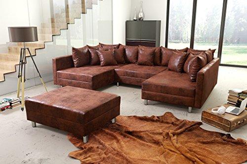 Ecksofa Couch Wohnlandschaft Vintage braun Bild 2*