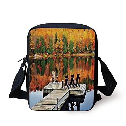 Landscape,Chairs on Wooden Dock Vibrate Color Fall Forest Reflection Lake View,Orange Yellow Green Print Kids Crossbody Messenger Bag Purse