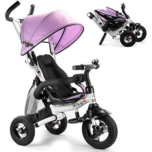 Triciclo para Niños, Plegable Triciclo Evolutivo con baranda desmontable, toldo ajustable, arnés de seguridad, pedal plegable, bolsa de almacenamiento, freno, diseño de absorción de impactos (Rosa)