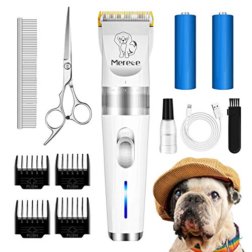 Merece Dog Clippers - Low Noise Rechargeable Cordless Quiet Dog Grooming Clippers for Small Dogs Thick Coats Professional Electric Dog Hair Trimmers Clippers Pet Clippers for Dogs Cats, White