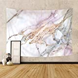Riyidecor Pink Golden Marble Fabric Tapestry Wall Hanging 60Hx80W Inch Abstract Trippy Nature Luxury Texture Crack Ink Modern Authentic Stone Nature Elegance Artwork Home Dorm Decor Bedroom