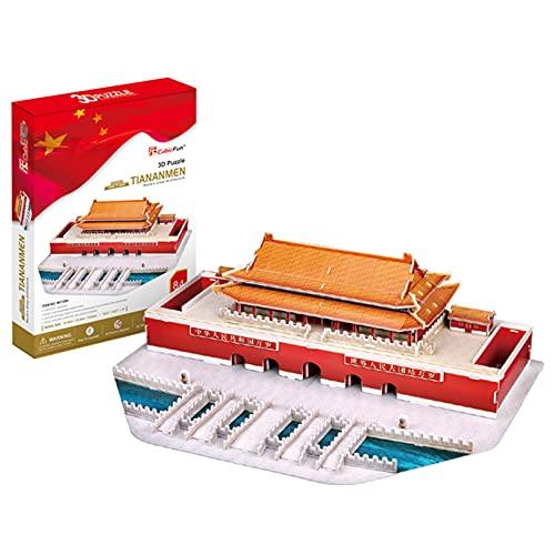 HLFGJE 3D Puzzle Modell bausatz, Rätsel für Denksportaufgaben, 3D Puzzle Erwachsene,3D Puzzle Kinder, Puzzlespiele für Klassische Gebäude (Peking-Tiananmen-Modell)