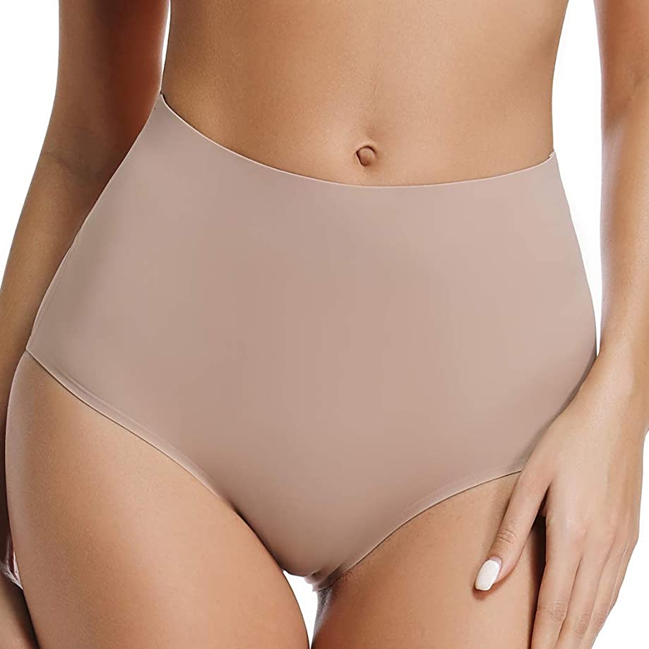 Seamless Panties High Waisted Nylon Spandex Hipster Panties for Women No Show Underwear 2 Pack