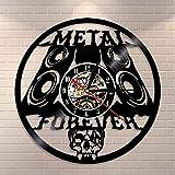 BFMBCHDJ Heavy Metal Music Wall Sign Rock n Roll Music Studio Wall Decor Rock Band Wall Clock Metal Music Vintage Vinyl Record Wall Clock
