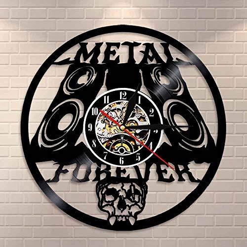 Reloj de pared de metal pesado con diseño de música Rock n Roll para decoración de pared, banda de rock, reloj de pared de metal