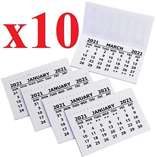 2020-Kalenderregister, 10 Stück, weißer Mini-Kalender zum Abreißen, Monatsansicht