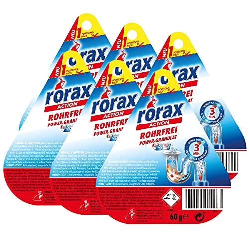 6x rorax Rohrfrei Power-Granulat Portionspack 60g - Wirkt sofort & löst selbst Haare auf