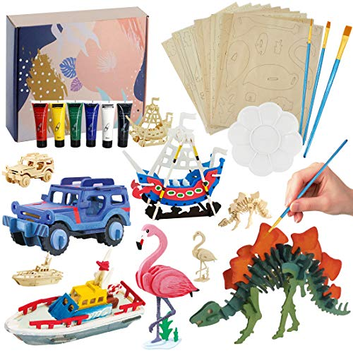 Kids Crafts and Arts Supplies Set Painting Kit Decorate Your Own 3D Wooden Puzzle for Kids Boys Girls