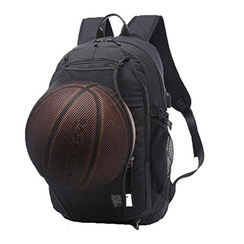 Valleycomfy Basketballrucksack Herren Boy Leinwand Sport Rucksack Mit Faltbar Basketball Net Und USB Lade-Schnittstelle (passen 15.6