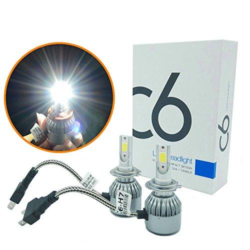 Heinmo 72 W (36 par lampe) 7600lm H7 6000 K LED Ampoule de phare Kits avec Advanced Puce LED – 2 ans de garantie (H7)