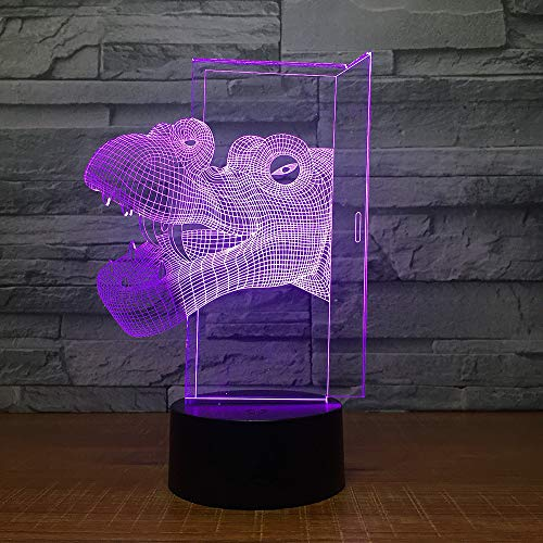 7 Farbe Schrittweise Veränderung Dinosaurier Kopf 3d Kleine Nacht Lampenstand Dekoration Usb Led Kinder Lampe Weihnachtsdekorationen 3d Licht