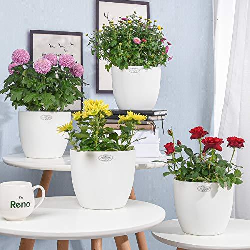 Sungmor Fioriera autoirrigante - 7,2 pollici, vasi di fiori in plastica bianca - 4 pezzi vasi per piante da giardino, piante, erbe, piante grasse, vaso per decorazioni da tavola per ufficio in casa