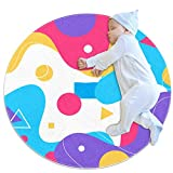 Nursery Rug Colorful Abstract Ripple Crawling Mat Non-Slip Activity Gym & Play Mat for Baby Toddler 27.6x27.6 inches