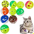 Heatigo 10 Pieces Bell Toy for Cats Colourful Plastic Hollow Jingle Bell Pounce Chase Rattle Ball Toy (Random Colours)