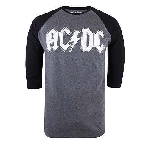AC/DC Logo Raglan Camiseta de Manga Larga, Gris (Gris Oscuro Marl/Negro), M para Hombre