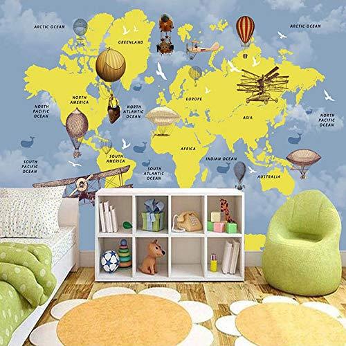 DZBHSCL 4D Behang muurschilderingen, Nordic cartoon heteluchtballon vliegtuig Wal dierenwereld kaart kunstdruk grootte wandschilderij fotobehang voor kinderkamer kinderkamer achtergrond wanddecoratie 112in×184in 280cm(H)×460cm(W)