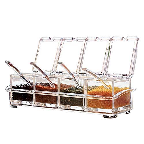Sprießen 4 Stück Küche transparent Acryl Würze Box Vier in One Spice Dosen mit Löffeln und Gewürzbehälter, Küchenutensilien