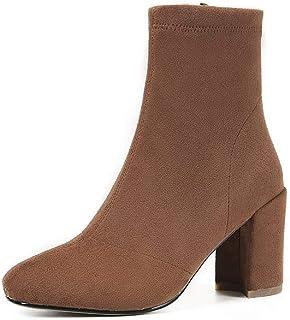 BalaMasa Womens Bucket-Style High-Heel Solid Leather Boots ABM13386