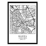 Nacnic Drucken Stadtplan Basel skandinavischen Stil in