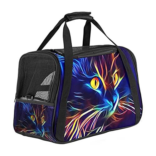 Mochila de viaje para mascotas, suave, aprobada por la compañía aérea, impermeable y plegable, diseño abstracto de gatos