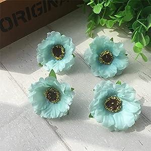 10pcs/lot 4cm Mini Poppy Silk Cherry Blossoms Artificial Rose Flower Heads for Wedding Decoration Scrapbooking DIY Wreath (Color : Tiffany)