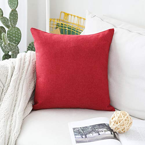 Home Brilliant Pillow Cover Decorative Linen Square Red Throw Pillow Cover for Bed, Burgundy, 18x18 inch(45x45cm)