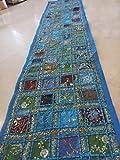 PUSHPACRAFTS Camino de mesa bordado a mano, estilo indio, estilo vintage, color azul turquesa
