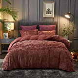 PHF Lightweight Velvet Duvet Cover Set - Queen, 3 Pieces Comforter Cover Set - Button Closure, 8 Corner Ties - Soft, Breathable, Luxurious Bedding, Wine Red