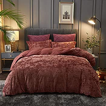 PHF Lightweight Velvet Duvet Cover Set - King 3 Pieces Comforter Cover Set - Button Closure 8 Corner Ties - Soft Breathable Luxurious Bedding Wine Red
