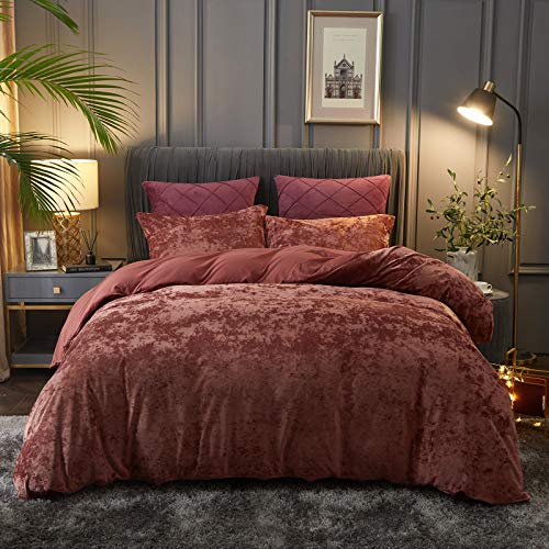 PHF Lightweight Velvet Duvet Cover Set, Queen (90' x 92'), Button Closure, 8 Corner Ties, 3 Pieces, Soft, Breathable, Solid and Luxurious Bedding, Wine Red
