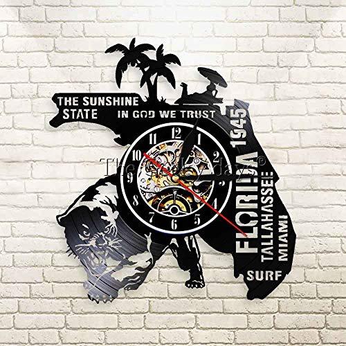 Sommerzeit-Florida-Wanduhrstrandurlaubsreise der Vinylwanduhr 3D amerikanische nationale Stadtaufzeichnungswanduhr-Stadtlandschaftsuhr