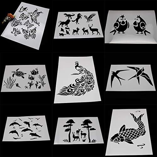 BLUGUL 9pcs A4 Plantillas de Dibujo, para Manualidades Decoración Pared Mueble Ventana Aerógrafo, Mariposa Pájaro Caballo Ciervo Gato Águila Pavo Real Tortuga Delfín