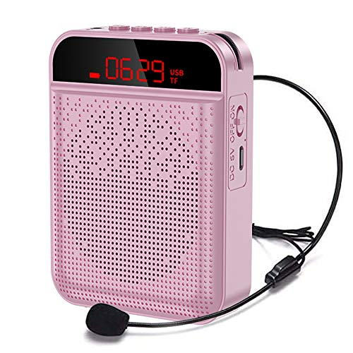 Voice Amplifier Portable Bluetooth with UHF Wireless Microphone Headset Mini Speaker 4000mAh Rechargeable PA System Speaker Support FM MP3 TF Card for Classroom Meetings and Outdoors (Rose Gold)