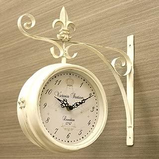 ステーションクロック ボスサイド ウォールクロック/壁掛け時計 ホワイト/Lサイズ 両面時計 おしゃれ時計 アンティーク 北欧雑貨 両面時計