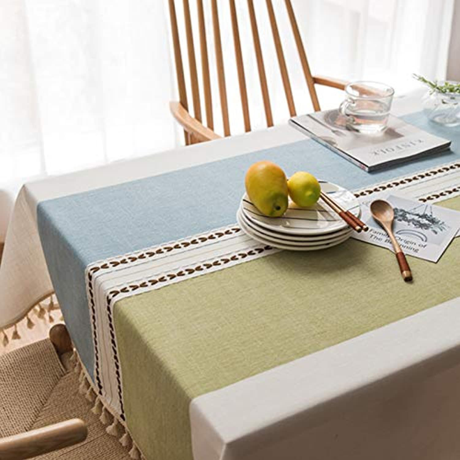 Nordic simple plain plaid fabric tablecloth cotton and linen small fresh rectangular dormitory table cloth coffee table cloth, fabric tablecloth  bluee and green lines tassel, 135135cm suitable squa