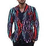 ZODOF Chaqueta de Traje para Hombre - Traje para Hombre Moderno Vestido Estampado étnico Vintage para Hombre con Traje Floral y Chaqueta Ajustada Tipo Blazer(Púrpura,XL)