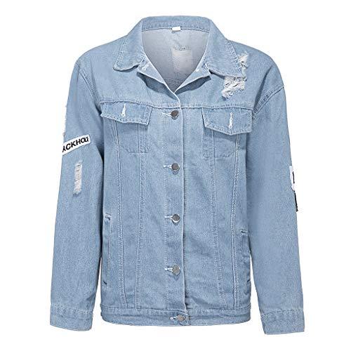 Keven Damen Jeans-Jacke Casual Jacken Mit Patches Beiläufig Stilvoll Button Denim Jacket (EU 34-36 / S)