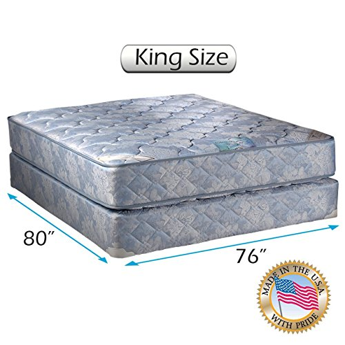 Best Buy! Chiro Premier (King Size) Two-Sided Medium Firm (Blue) Mattress Set with Bed Frame Include...