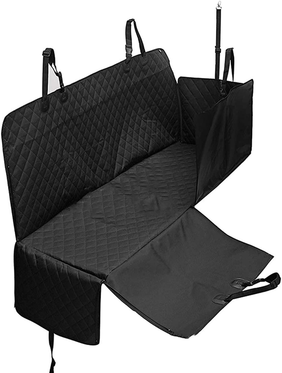 Dog Seat Cover Car Hammock, Nonslip Travel Pet Seat for Car Zipper Design with Extra Side Flaps Adjustable Anchors Rear Backseat Predector (color   Black1, Size   OneSize)