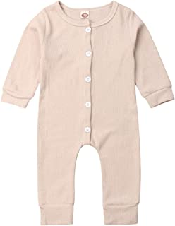 Unisex Newbown Baby Girls Knitted Romper Long Sleeve Sweater Buttons Bodysuit Pajamas Top Fall Winter Clothing