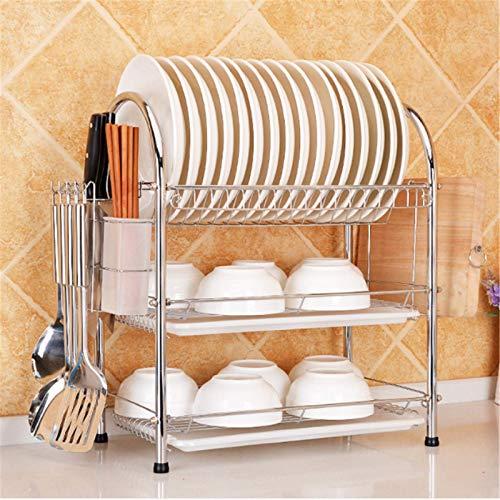 Madeinely Escurreplatos de cocina con 3 niveles - Estantería para vajilla de cocina - Escurreplatos en seco - Escurreplatos de cocina