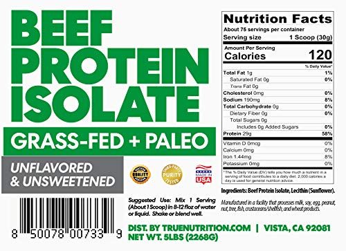 5LBS Unflavored Grass Fed Beef Protein Powder Isolate - Paleo, Keto, Carnivore, Sugar-Free, Lactose-Free - Customize Your Protein with Two Free TrueBoost or TrueFlavor Protein Shake Enhancements 2