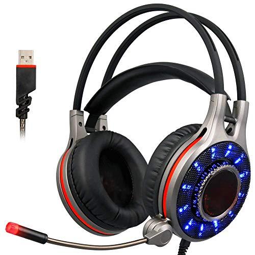 EPMR Headphones, 7.1-kanaals virtuele gaming headset, LED cool lights, subwoofer stereo headset, en ruisonderdrukkende microfoon, USB-aansluiting, geschikt voor game of video afspelen