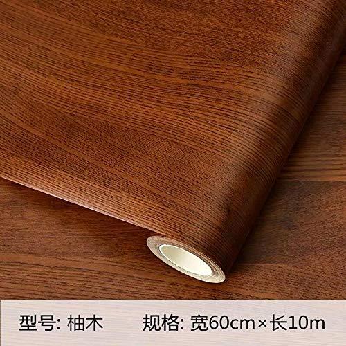 Holzmaserung Selbstklebende wasserdichte PVC verdickte Tapete Kleiderschrank Schrank Desktop alte Zimmertür Möbel Renovierung Aufkleber-Teakholz_0,6 * 10 m
