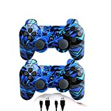 [2 Pack] Wireless Double Vibration Game Controller Bluetooth Gamepad Remote for PS3 Playstation 3 [Gift 2 Charging-Cable] (Blue Line)