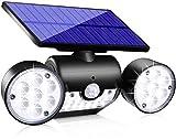 Topmante Upgrade Solar Lights Outdoor, Super Bright Waterproof Motion Sensor Security Light Solar Wall Lights with Dual Head Spotlights LED 360° Adjustable Flood Light for Garden Garage Patio (1 Pack)