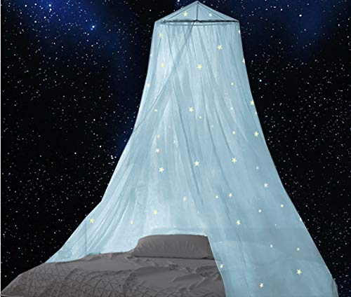 BCBYou Bed Canopy with Fluorescent Stars Glow in Dark for Baby, Kids, Girls Or Adults, Anti Mosquito As Mosquito Net Use to Cover The Baby Crib, Kid Bed, Girls Bed Or Full Size Bed (Blue)