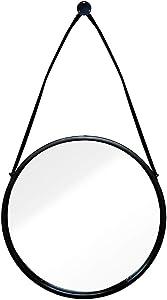 JI Bin Shop® Miroir De Courtoisie Mural Moderne Miroir De Rasage Miroir De Salle De Bain Métal Miroir Suspendu Rétro Mur Cadre Décoratif Miroir Noir ++ (Taille : 50CM)