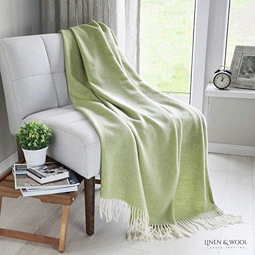 Linen & Cotton Manta Sofa/Mantas de Cama STONEWOLD - 100% Pura Lana Merino, Verde Oliva Ligero (140 x 200cm) Plaid/Blanket/Funda Single Matrimonial de Lana Oveja Ideal para el Invierno